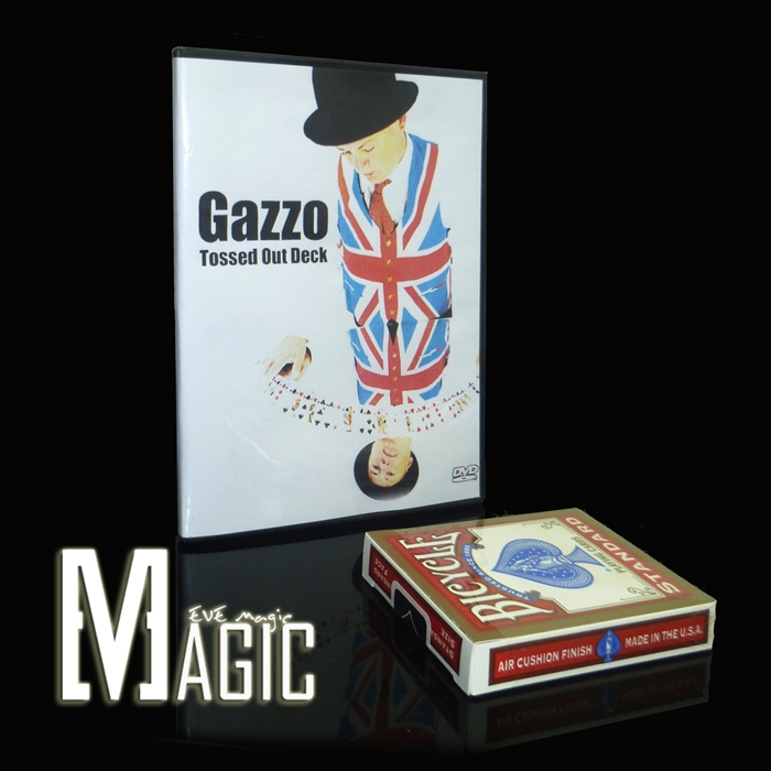12pcs/lotGazzo Tossed Out Deck close-up street TV show bicycle card magic tricks products wholesale free shipping(China (Mainland))