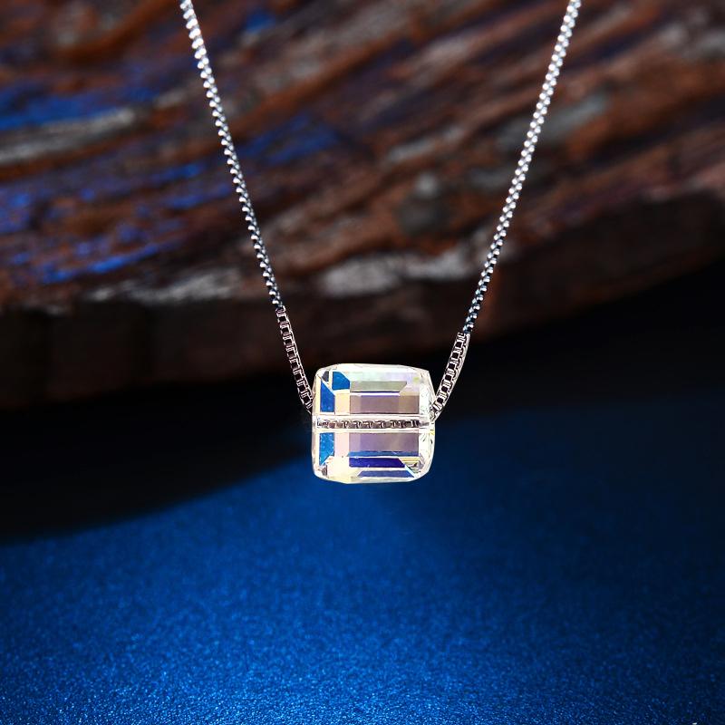 Fashion Jewelry Women Korea Rubik Cube Crystal Necklace Collar Bone Chain Sliver Chain Pendant Necklaces(China (Mainland))