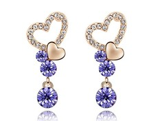 Buy Austrian Crystal Stud Earrings Romantic Heart Love Jewelry Earrings Valentine Christmas Romantic Gift Bijoux Fashion Accessories for $9.51 in AliExpress store