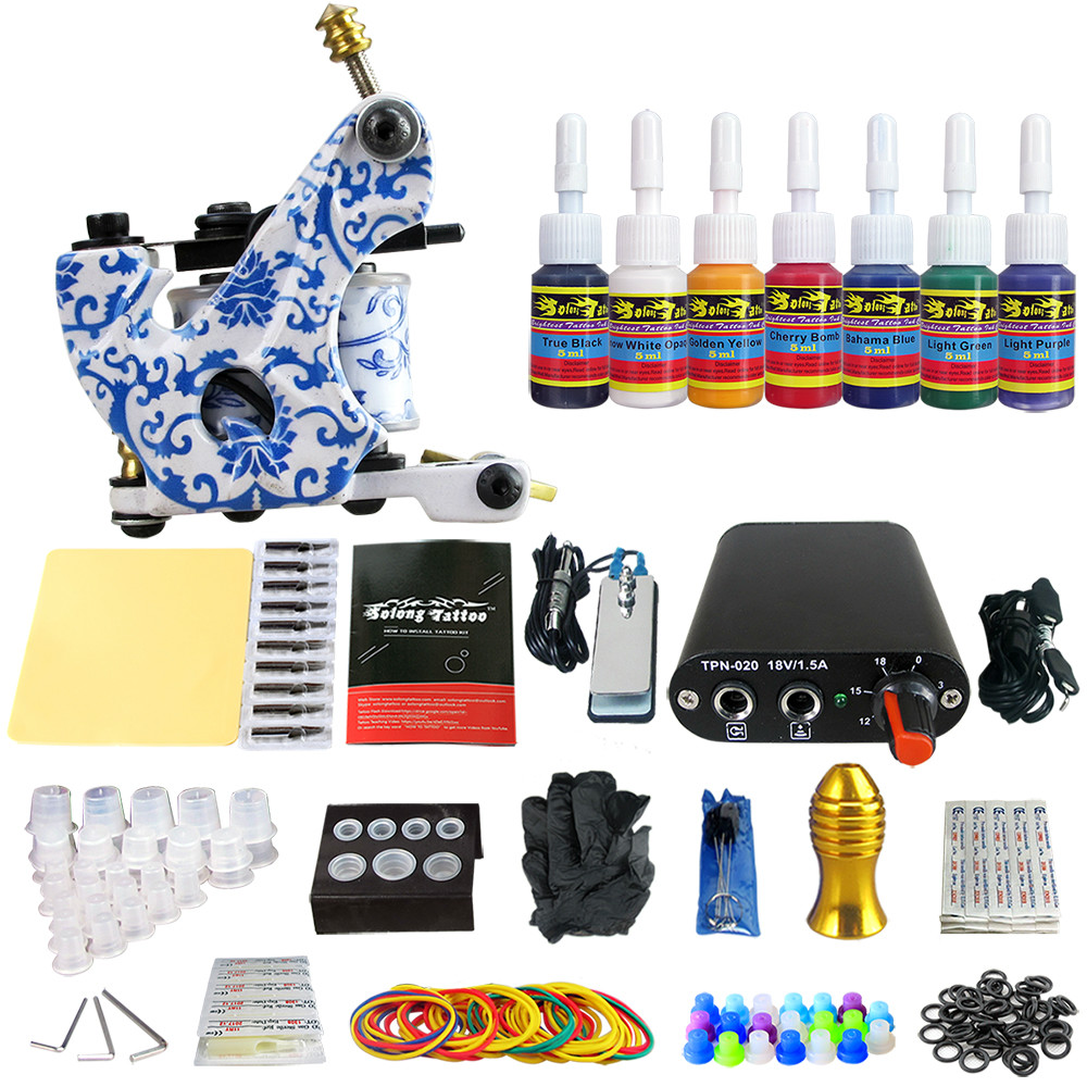 Solong Tattoo New Beginner 1 Pro Machine Gun Tattoo Kit Power Supply Needle Grips tip 7 color ink set TK105-63