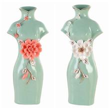 1x Chinese Flower Vase Ceramic Multiple Colors Porcelain Qi Pao Home Decor (China (Mainland))