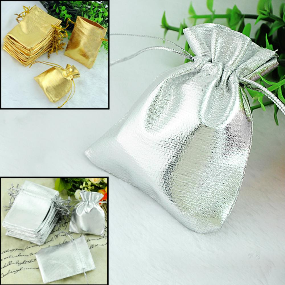 Wholesale 100 Silver gold Plated Satin Gift Bags With Drawstring 9x7cm Fine Gifts Package Storage Organizer(China (Mainland))