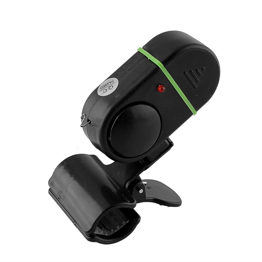 LED Light Electronic Fish Bite Strike Sound Alarm Bell Alert Clip On Fishing Rod Pole Tool