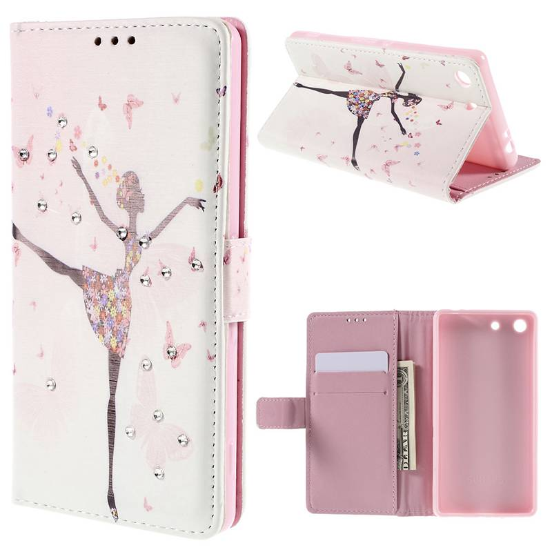 For Sony m5 case Butterfly Girl Rhinestone Wallet Leather Protective Case for Sony Xperia M5 E5603 / M5 Dual E5633(China (Mainland))