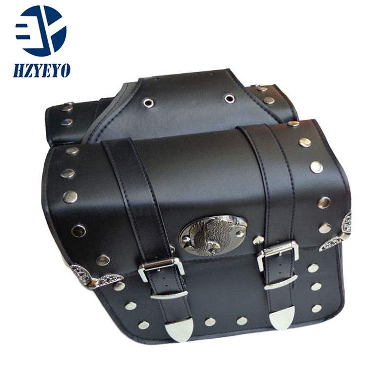 HZYEYO NEW 2 x universal Motorcycle Saddlebags Saddlebags Left & Right Pouch for Harley Chopper D808