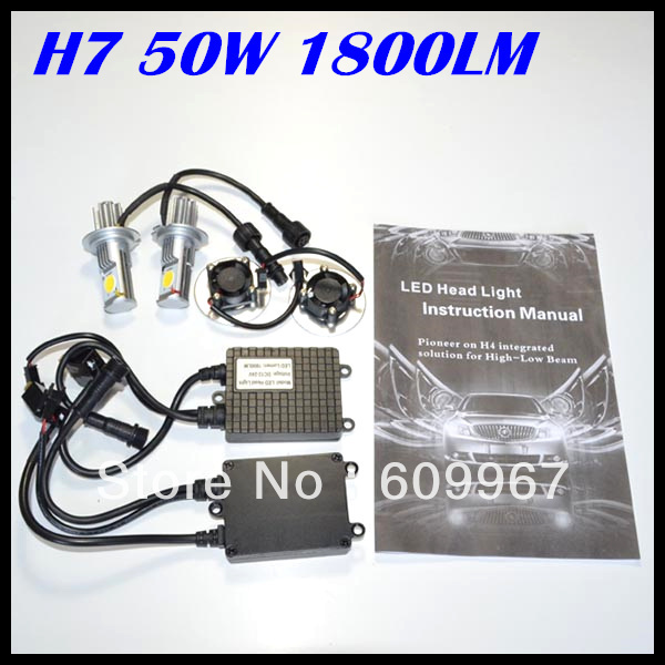 NEW product LED Headlight 50w Super Bright High Lumen 50W 1800LM H7 CREE CXA1512 chips Car Auto Headlight Free shipping<br><br>Aliexpress