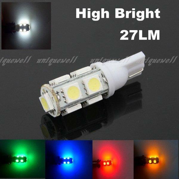 Car Light High Brightness 24-26LM T10 9SMD 5050 12V White Side Marker Light Bulbs 194 168 W5W Car LED Wedge 10pcs Free Shipping