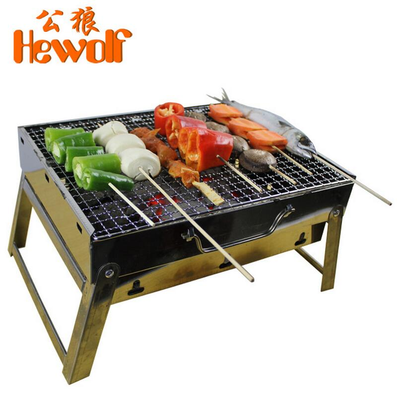 Outdoor camping portable-grills charcoal bbq stove folding burn oven stainless steel barbecue tools(China (Mainland))