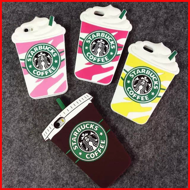 """Hot Sale 3D Cartoon Silicon Starbuck Coffee Cup Case Cover for Apple iPhone 4 4s 5 5s 6 4.7"""" 6 Plus Mobile Phones Free shipping(China (Mainland))"""