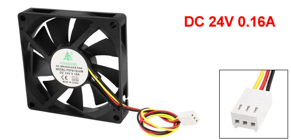 DC 24V 0.16A 3 Pin Connector PC Computer Case Cooling Fan 80mm x 80mm(China (Mainland))