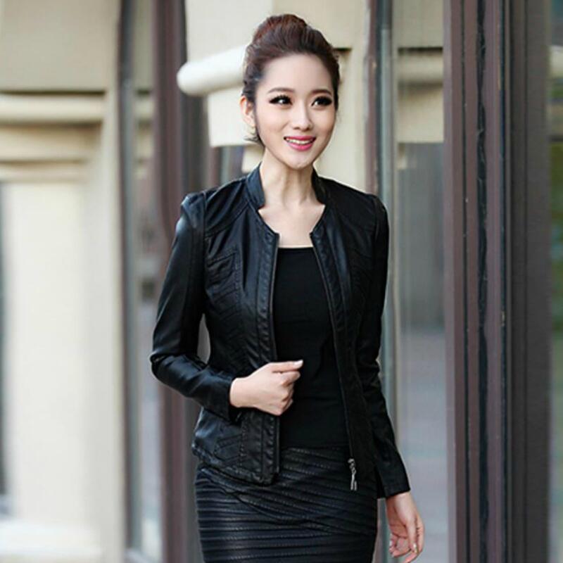 2016 Autumn Genuine Leather Jackets Women's Slim Sheepskin Coat Short Design Zippers Black Fashion Outcoat Xxxl - shu fen xie store