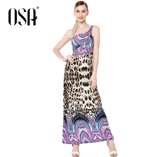 OSA 2015 New Arrivals Women One Shoulder Dress Empire Strapless Leopard Vestidos Draped Dress Hot Sale SL431144(China (Mainland))