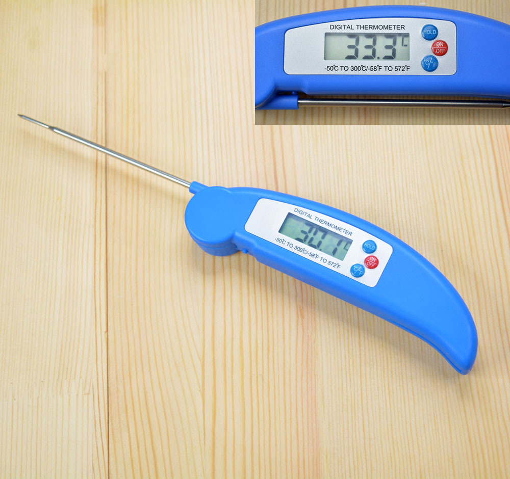 Digital LCD BBQ Thermometer Barbecue Foldable Cooking Food Probe Meat Kitchen Sensor Blue(China (Mainland))