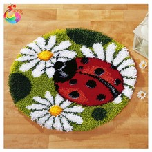 Free Shipping carpets of living DIY Needlework Kits Unfinshed Crocheting Yarn Mat Latch Hook Rug Kit Floor Mat Lovely ladybird(China (Mainland))