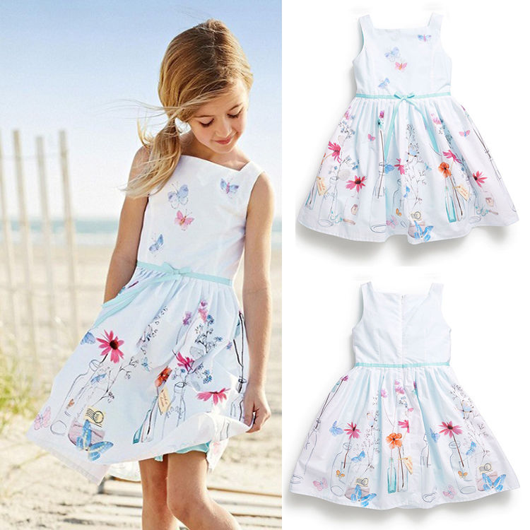 2015 girls summer dress kids floral print sleeveless costume princess dress for girls fashion gown dresses children's clothes(China (Mainland))