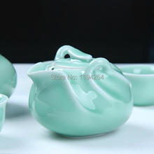 Longquan Kiln Celadon Ware Mandarin Duck Teapot Teacups Gongfu Tea Set 180ml