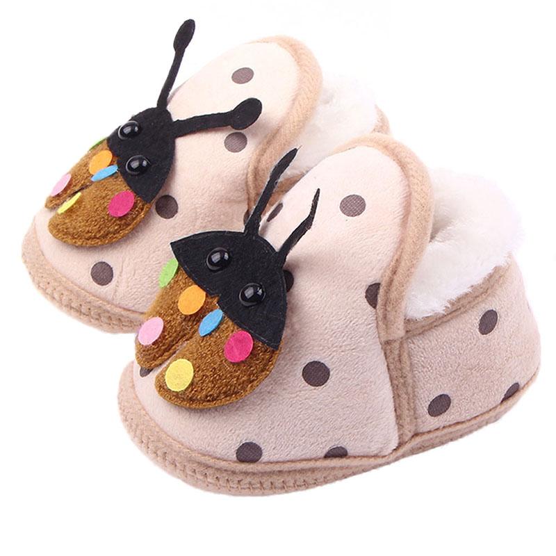 Soft Winter Indoor Shoes Newborn Girl Ladybug Crib Shoes Infant Fleece Shoes(China (Mainland))