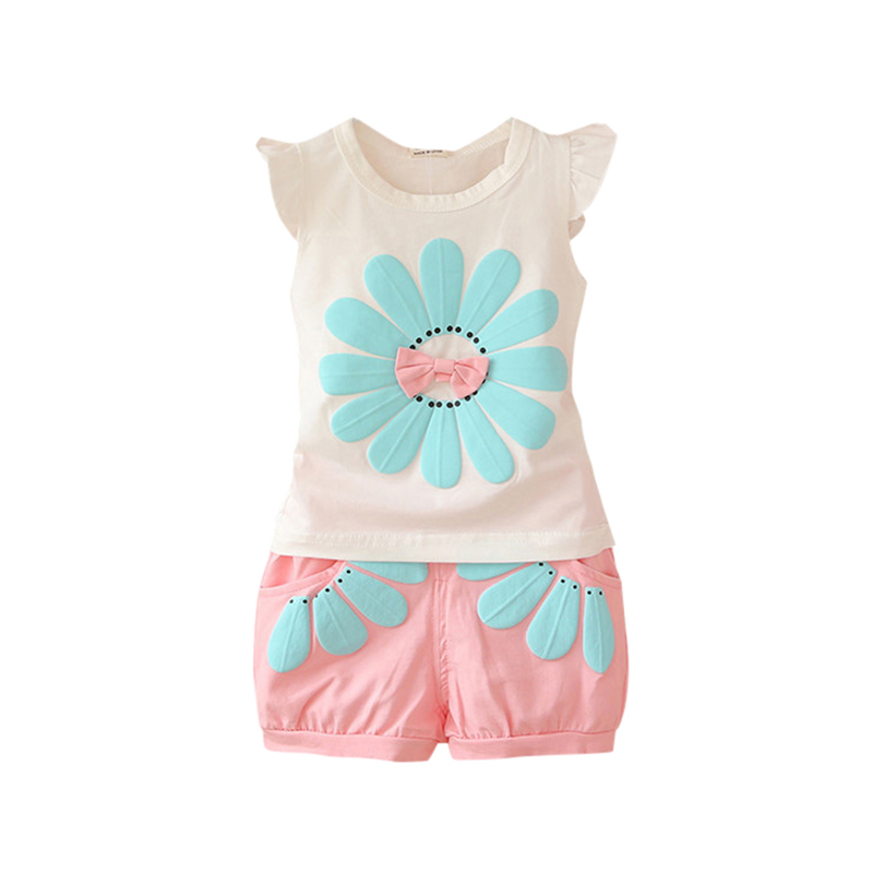 Fashion Baby Girls Summer Clothing Sets Bow Sunflower Vest Shirt+Shorts Kids Outfits 1-4Y H34(China (Mainland))