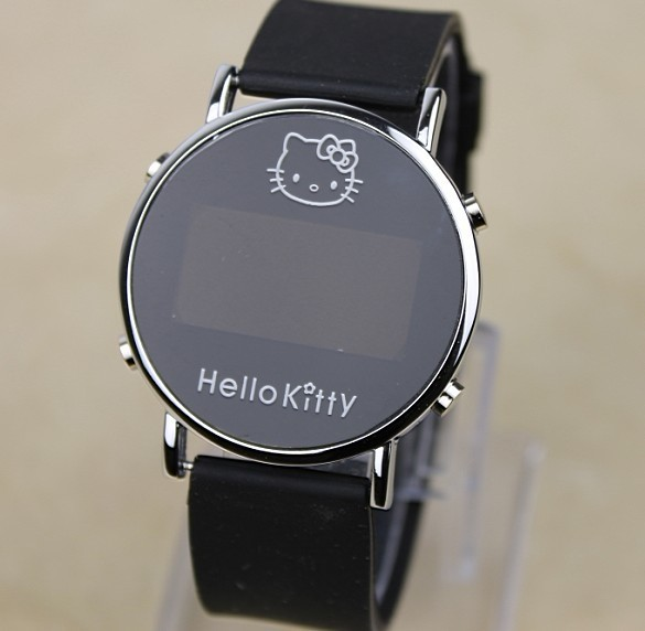 Electronic 2016 New Hello Kitty Cartoon Watches for Girls Kid Children LED Silicone Digital Wristwatches Reloj Clock(China (Mainland))