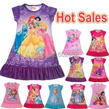Hot pajamas Summer Nightgowns Dora Sophia Princess Girl print Cartoon nightdress for girls sleepwear polyester kids clothing  CX(China (Mainland))