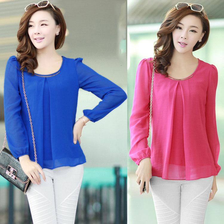 S892 xxxl xxxxl весна лето длинный рукав двойной шифон лаконичный девушку женщин женское рубашки блузка