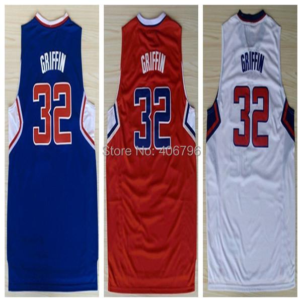 #32 Blake Griffin Brand New Jerseys Blue/White/Red Basketball Jersey(China (Mainland))