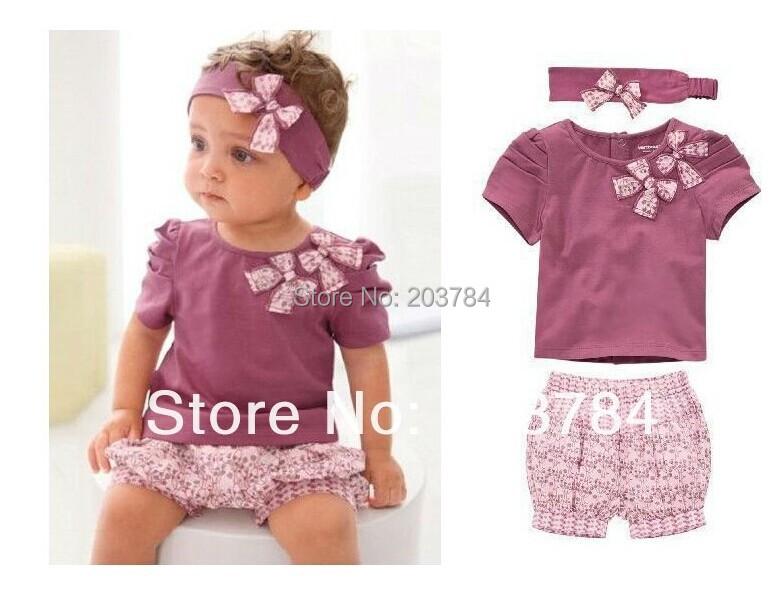 2015 New Hot Selling 100% Cotton Baby Girls Clothing Set 3pcs:headband+shirt+pant Purple Princess Summer Clothes Three Pieces(China (Mainland))