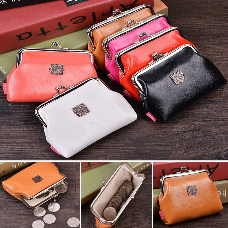 1pcs Women Cute pure color Coin Purse PU Leather Small Clutch Wristlet lady Wallet Girls Change Pocket Pouch Hasp Bag Keys Case(China (Mainland))
