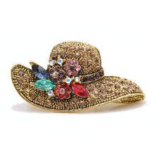 Cindy Xiang Vintage Antik Warna Emas Berlian Imitasi Topi Bros untuk Wanita Pernikahan Korsase Aksesoris Pin Kualitas Tinggi(China)