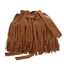 2016 Retro Faux Suede Fringe Women Bag Messenger Bags New Handbag Tassel Shoulder Handbags Drawstring Crossbody Gift(China (Mainland))