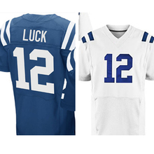 Mens #12 Andrew Luck Jerseys Adult Blue White Elite Embroidery Logos and 100% Stitched Free shipping(China (Mainland))
