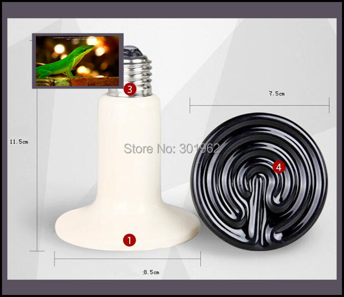 100Pcs/lot 110v / 220v 250W Ceramic Emitter Heated Pet Appliances Reptile Heat Lamp Light P405(China (Mainland))