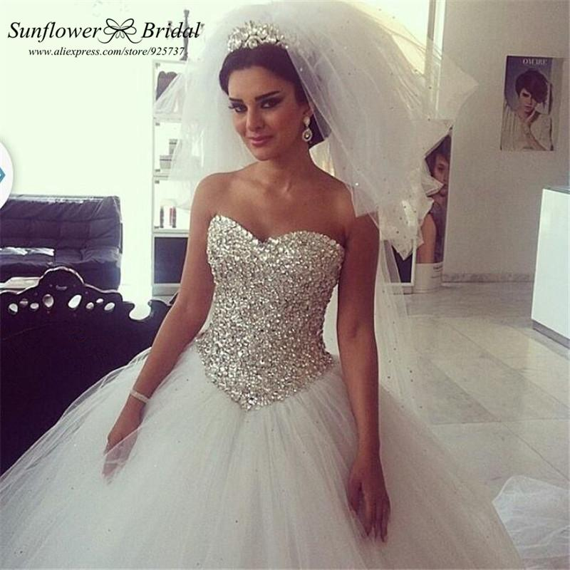 Sexy Crystal Wedding Dress Sweetheart Ballgown Wedding Dress Real Plus Size W