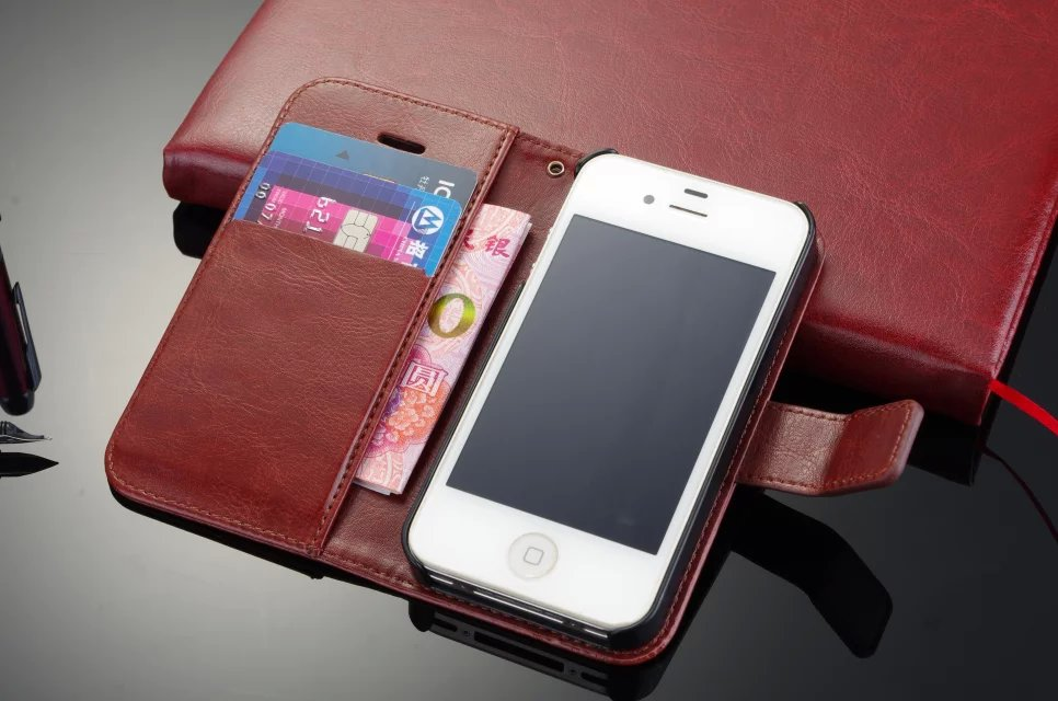 New Arrival High Quality Wallet Style Flip Stand Leather Phone Case For Apple iPone 4s 4 Cover Cases(China (Mainland))
