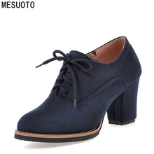 MESUOTO Blue Suede Nubuck Lace Up Spring Autumn Ankle Lady Pumps Vintage Square High Heels Womens Shoes Size 43(China (Mainland))
