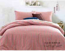 Twin Full Queen King Size Coral Plaid Bedding Set Flitted Sheet Duvet Cover Bed Linens Children Women Man Cotton Bedclothes