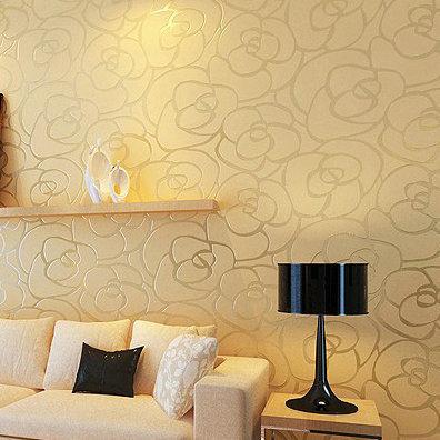 Popular 3d embossed gold rose pattern non woven decor home for Wallpaper decor for sale
