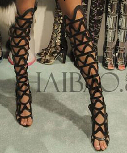 Free ship cheap price over knee high boots summer style black leather cut-outs lace up gladiator sandals plus size summer boots(China (Mainland))