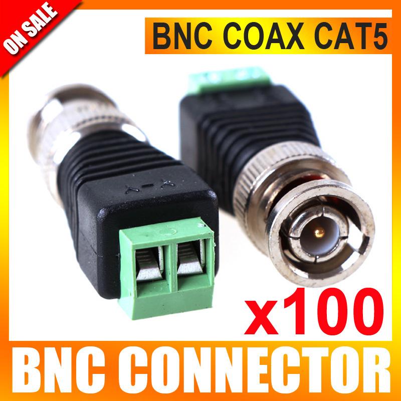 100Pcs/lot Mini Coax CAT5 To Camera CCTV BNC Connector UTP Video Balun Connector Adapter(China (Mainland))