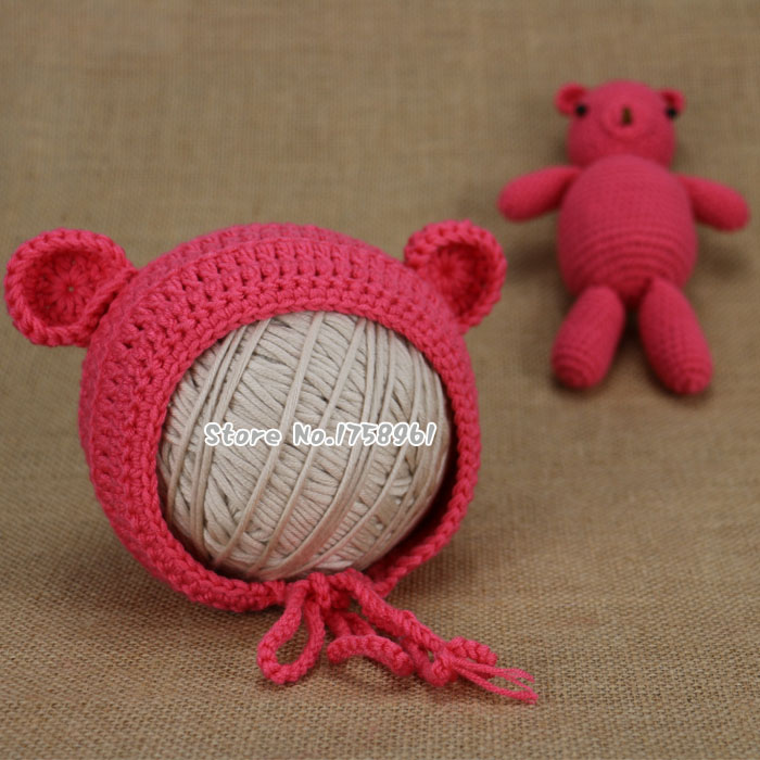 NEW Hand Crochet Knitted Baby Hat Photography/Photo Prop newborn knitting hats 0-3 months animal hat(China (Mainland))