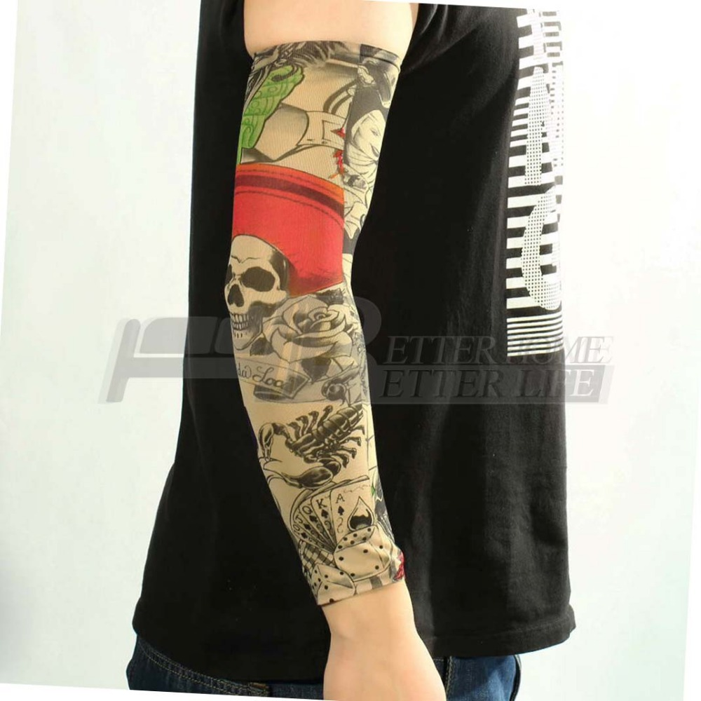 buy hot new nylon elastic fake temporary tattoo sleeve designs body arm. Black Bedroom Furniture Sets. Home Design Ideas