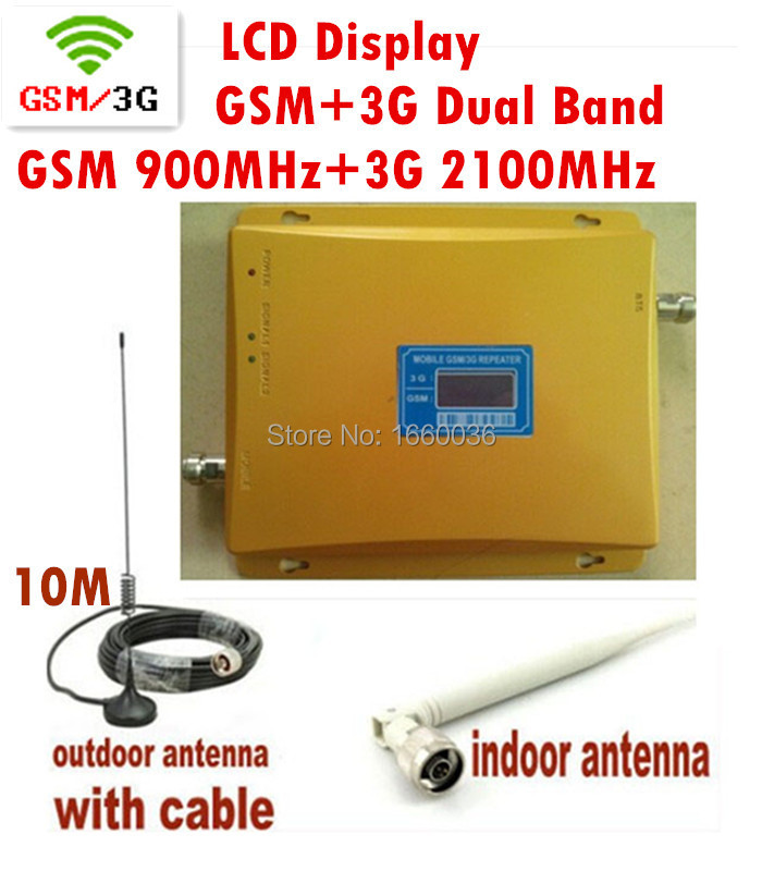 LCD Display 3G W-CDMA 2100MHz + GSM 900Mhz Dual Band Mobile Phone Signal Booster , Cell Phone Signal Repeater + Antenna + Cable(China (Mainland))