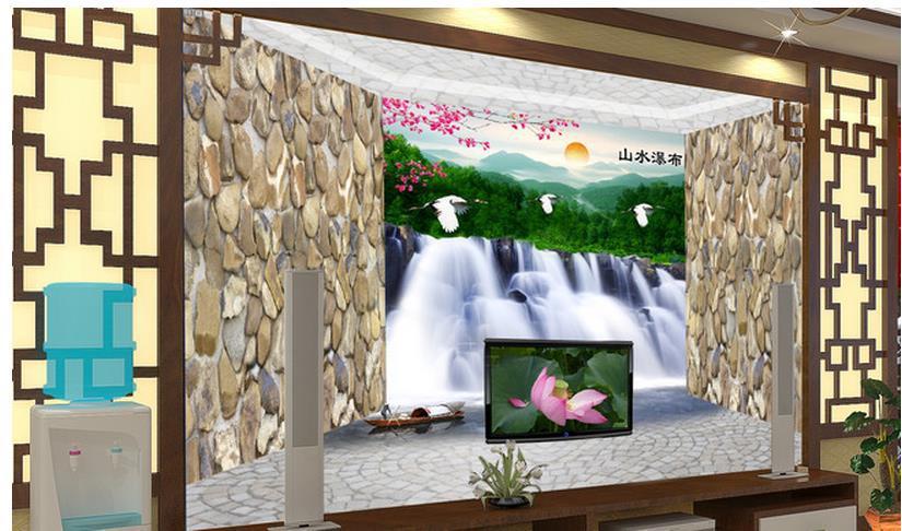 Free shipping Modern wall 3d murals wallpaper , HD Waterfall landscape 3D mural for Tv sofa background wall papel de parede(China (Mainland))