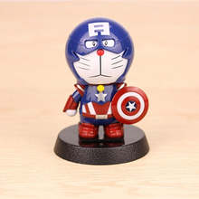 Solar Powered Action Figure Doraemon  Assembled Captain America Swinging Head Toy Car Decoartion Ornaments Dashboard Cute Gifts(China (Mainland))