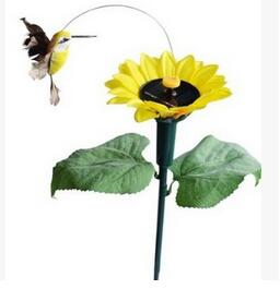 New 2016 Vibration Solar Power Color Dancing Flying Fluttering Butterflies and Hummingbird with flower Garden Decor(China (Mainland))