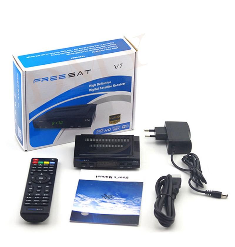 ถูก รับสัญญาณทีวีดาวเทียมถอดรหัสFreesat V7 HD DVB-S2 + USB Wfiที่มี3เส้นยุโรปCCCamบัญชีสนับสนุนเต็มpowervu cccam