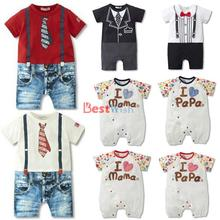 Hotsale Infant Clothes Baby Rompers Love Mama PaPa Newborn Jumpsuit Babies Boy Girls Mickey Animal Costume Jeans Free Shipping(China (Mainland))