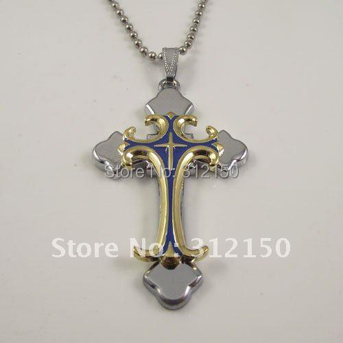 10pcs Free Shipping Steel Men's Necklace Cross Pendant Necklace wholesale good quality