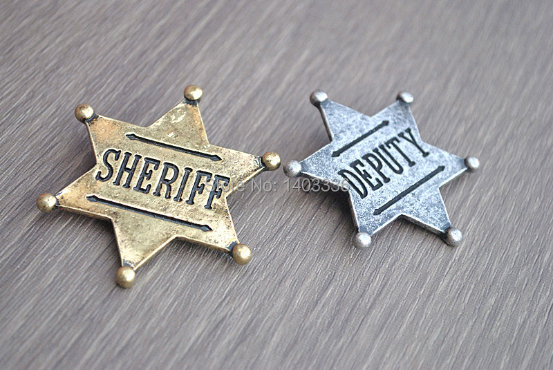 Trendy Sheriff Deputy Gold Silver plated party Pins Brooches broach girls children kids fun gift 2014 new jewelry - Woo Boutique store