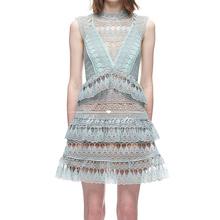 HIGH QUALITY New Fashion 2016 Designer Summer Dress Women's Sleeveless Hollow Cascading Ruffles Lace Dress(China (Mainland))